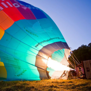 Preparing the balloon before your Byron Bay Hot air Balloon Flight on the Far North Coast of NSW