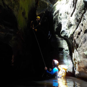 Abseiling into the creek, Serendipity Canyon Tour, Blue Mountains Canyoning Tour