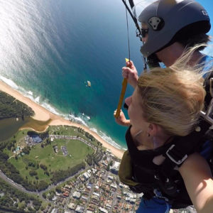 Tandem skydive over the beach at Wollongong