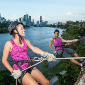 Get some friends together for Brisbane Sunset Abseiling.