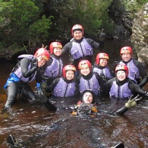 Taking a break while canyoning in the Lost World Canyon
