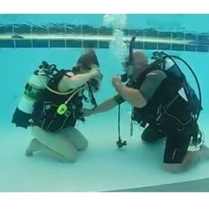 Learning to clear the mask, discover scuba diving course Perth WA