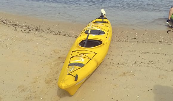 Our kayak for the Sydney kayaking tour. A two person kayak with rudder at the back. Stable and fun.