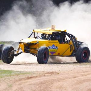 Dust is part of the deal when driving a V8 off road racing buggy!
