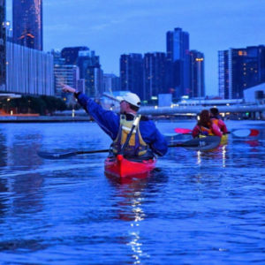 Kayaking on the Yarra River on the Melbourne City Twilight Kayaking Tour