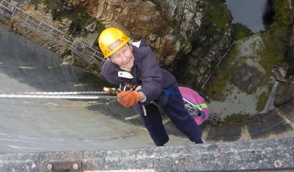 80 year old mum abseils down Gordon Dam in Tasmania