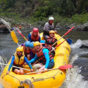 Family whitewater rafting on the Nymboida River.