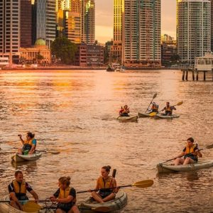 Sunday Dusk Kayaking, Dips and Drinks, Brisbane River, Qld