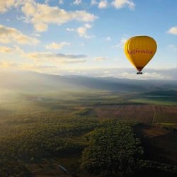Hot air balloon flight above Mareeba Valley
